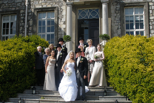 Christina with her immediate family and grandparents and Tom with his immediate family and grandmother at Hazelwood Castle in England, 2009.