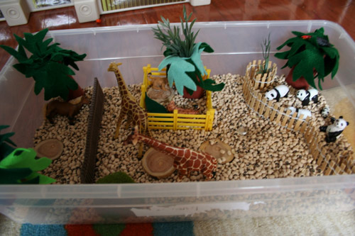 Zoo Sensory Box (Photo from Pink and Green Mama)