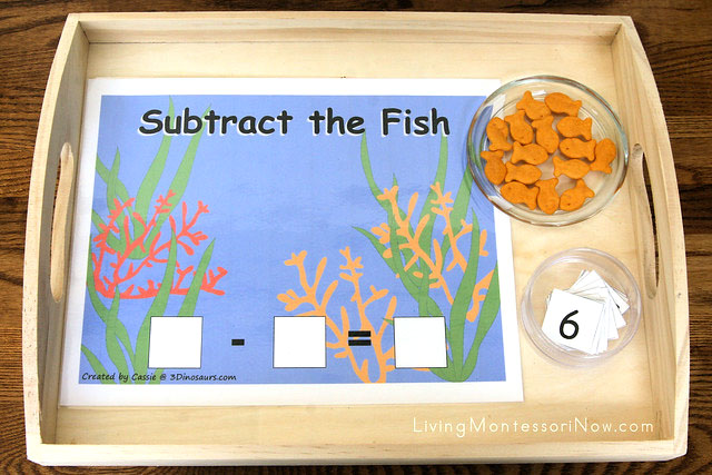 Subtract the Fish Tray from Montessori-Inspired Ocean Math Activities Using Free Printables