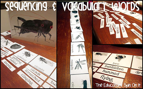 The Very Quiet Cricket Sequencing and Vocabulary Cards from The Educators' Spin On It