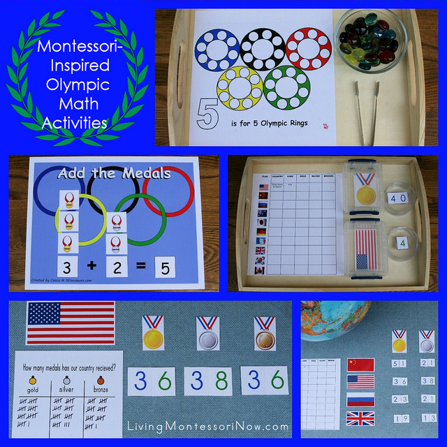 Montessori-Inspired Olympic Math Activities at PreK + K Sharing