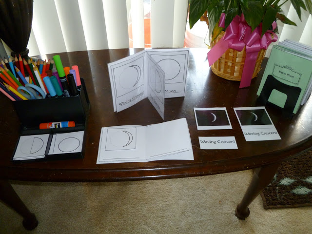 Moon 3-part cards and books (Photo from Noor Janan Homeschool)