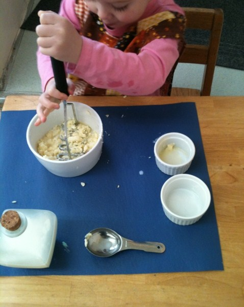 Potato Mashing (Photo from The Moveable Alphabet)