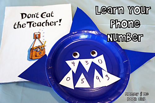 Learn Your Phone Number Shark Activity (Photo from Mommy and Me Book Club)