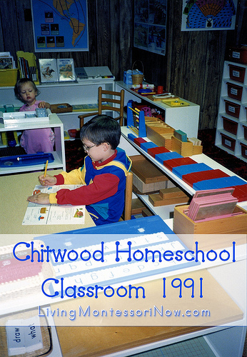 Our Montessori homeschool classroom when Will was 6 ½ and Christina was 1½.