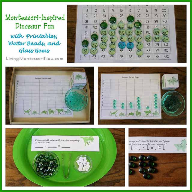 Montessori-Inspired Dinosaur Fun with Printables, Water Beads, and Glass Gems
