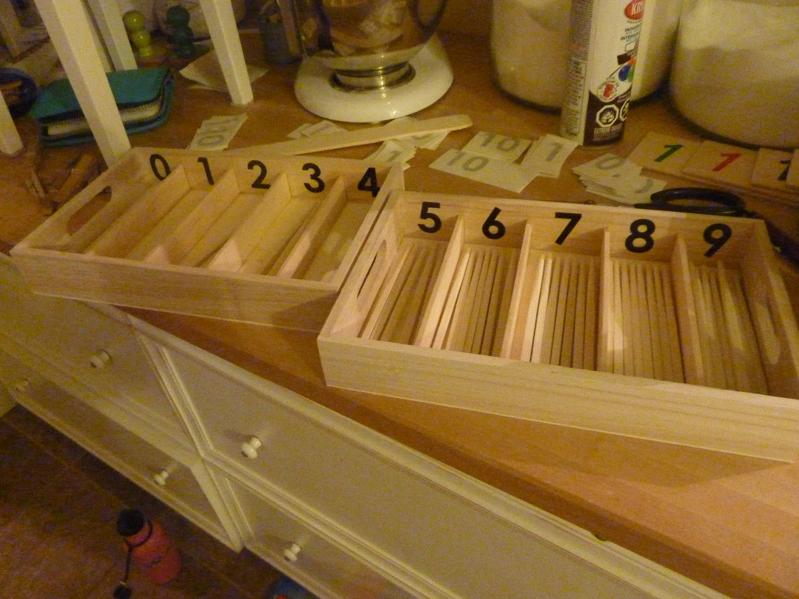 DIY Spindle Boxes (Photo from Making Montessori Ours)
