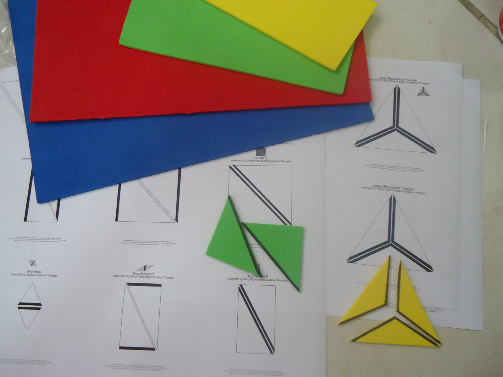 DIY Constructive Triangles (Photo from Teacher Weena)