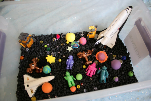 Outer Space Sensory Box (Photo from Pink and Green Mama)