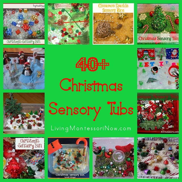 Montessori Monday – 40+ Christmas Sensory Tubs