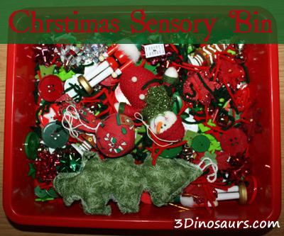 Christmas Sensory Bin (Photo from 3 Dinosaurs)