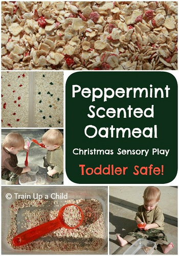 Peppermint Scented Oatmeal Christmas Sensory Play (Photo from Train Up a Child)
