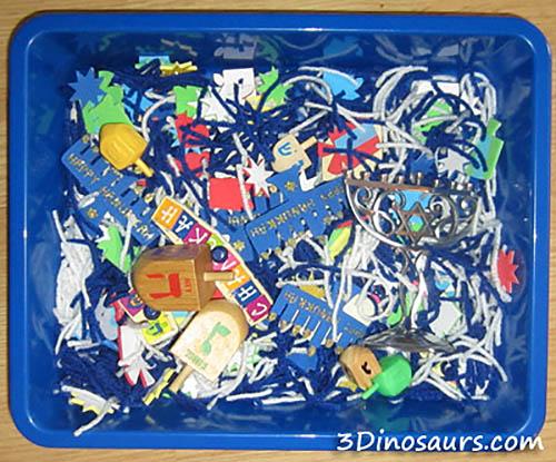 Hanukkah Sensory Bin (Photo from 3 Dinosaurs)