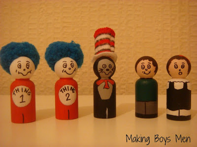 Cat in the Hat Peg Dolls (Photo from Making Boys Men)