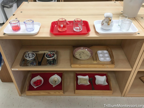 Chinese New Year Practical Life Shelves (Photo from Trillium Montessori)