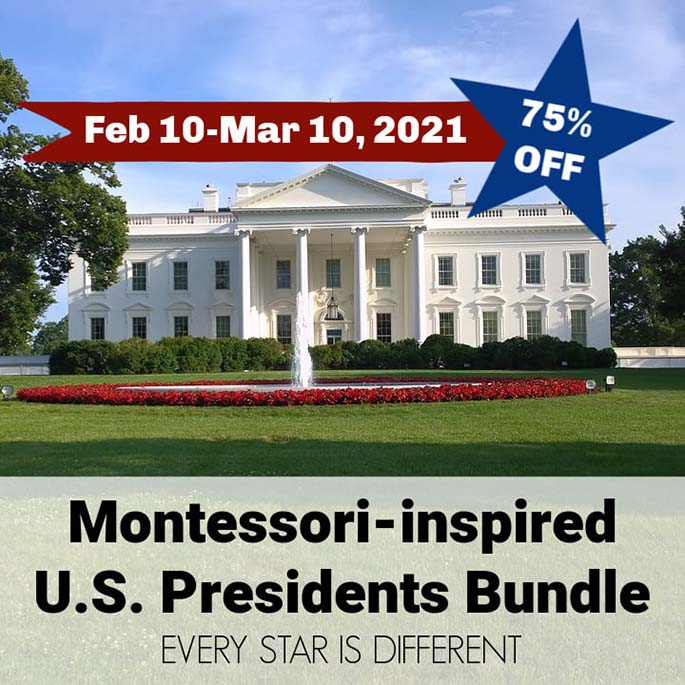 Montessori-Inspired U.S. Presidents Bundle from Every Star Is Different 75% Off through March 10, 2021