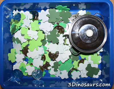 St. Patrick's Day Sensory Bin (Photo from 3 Dinosaurs)
