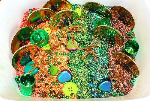 St. Patrick's Day Sensory Tub (Photo from Sense of Wonder)