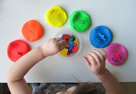 Rainbow Playdough Match and Stick (Photo from No Time for Flash Cards)