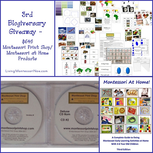 3rd Blogiversary Giveaway - $645 Montessori Print Shop/Montessori at Home! Products
