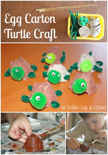 Egg Carton Turtle Craft (Photo from Train Up a Child)