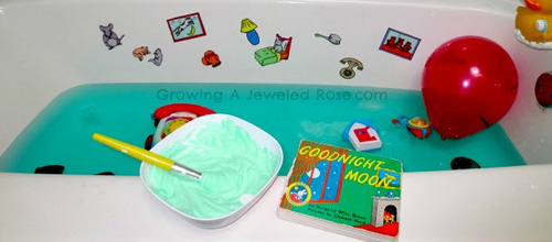 Goodnight Moon Storybook Bath (Photo from Growing a Jeweled Rose)