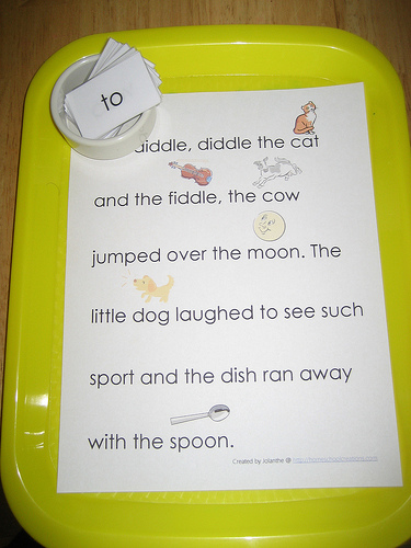 Finding Words in the Hey Diddle, Diddle Rhyme (Photo from The Preschool Experiment)