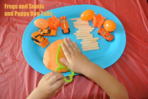 Orange Jello Playdough (Photo from Frogs & Snails & Puppy Dog Tails)