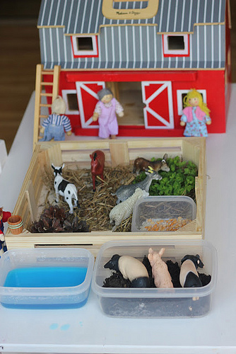 Farmyard Sensory Small World Play (Photo from The Imagination Tree)