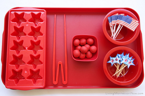 Patriotic Practical Life and Math Tray