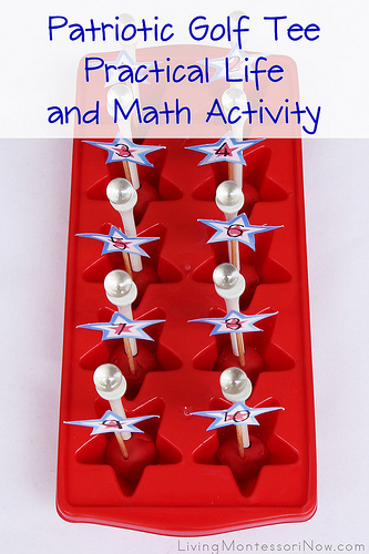 Patriotic Golf Tee Practical Life and Math Activity
