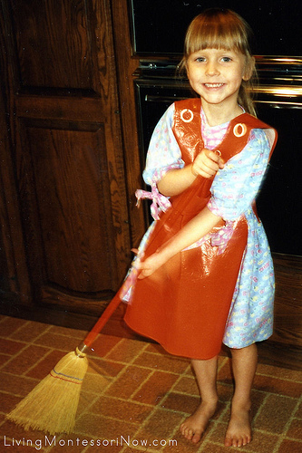Child-sized materials made cleaning fun for my daugher, Christina, as a preschooler.