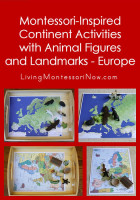 Montessori-Inspired Continent Activities with Animal Figures and Landmarks - Europe