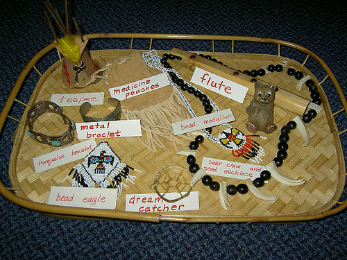 Native American Object Tray (Photo from Inspired Montessori and Arts at Dundee Montessori)