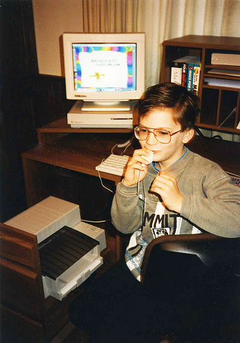 Will designing a cartoon card with recorded message for his dad on our first computer, 1992.