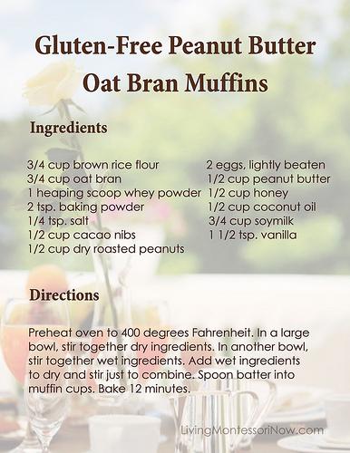 Gluten-Free Peanut Butter Oat Bran Muffins