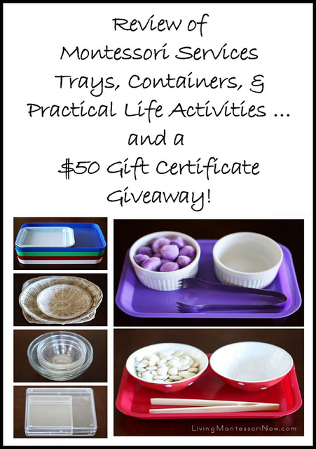 Review of Montessori Services Trays, Containers, & Practical Life Activities