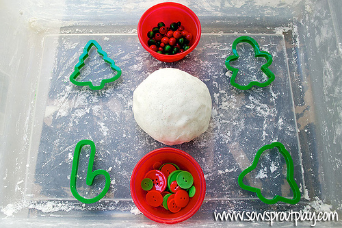 Snow Playdough Sensory Bin (Photo from Sow Sprout Play)