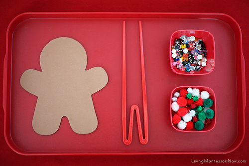 Christmas Gingerbread Man Fine-Motor Tray