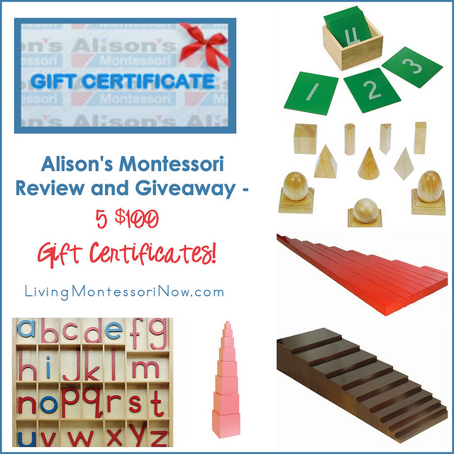 Alison's Montessori Review and Giveaway - 5 $100 Gift Certificates