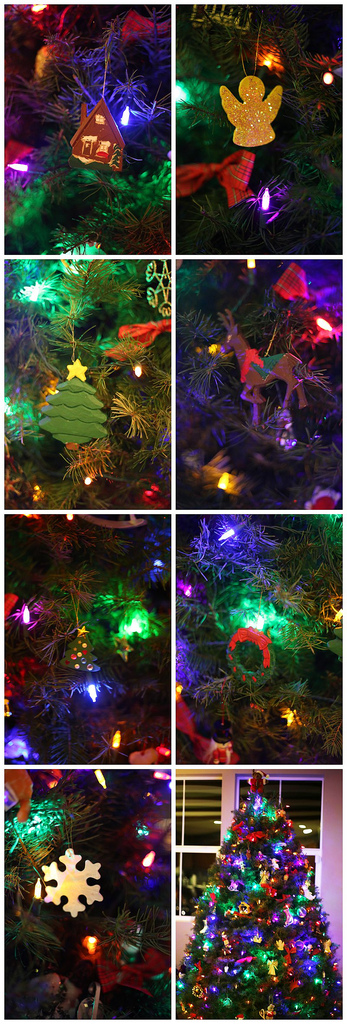 Christmas Tree with Kid-Made Painted Wooden Ornaments