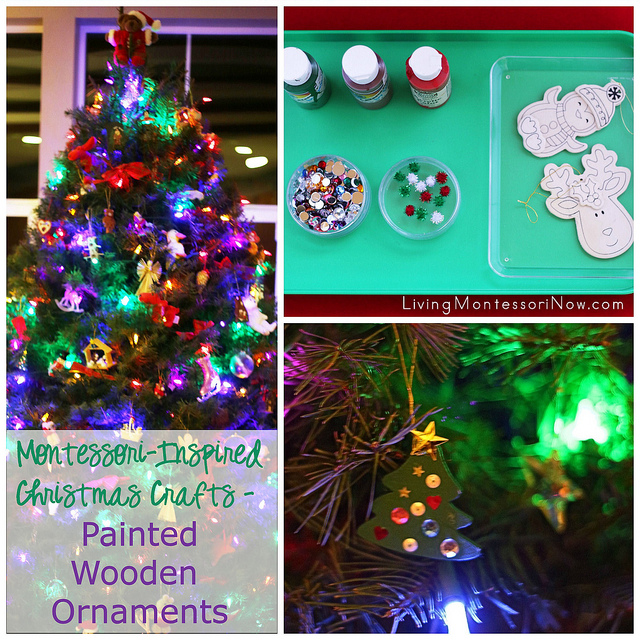 Montessori-Inspired Christmas Crafts - Painted Wooden Ornaments