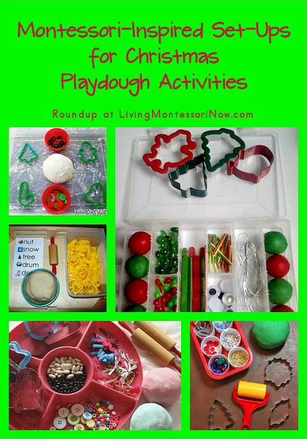 Montessori-Inspired Set-Ups for Christmas Playdough Activities
