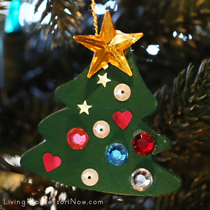 Painted Wooden Christmas Tree Ornament with Sequins and Acrylic Gems