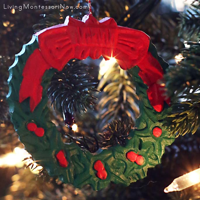 Painted Wooden Wreath Ornament