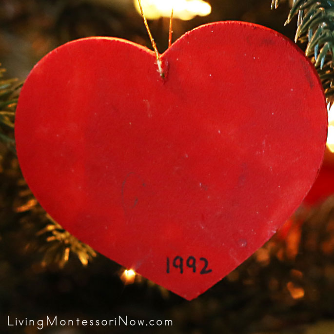 Wooden Christmas Heart Ornament Painted by a 2 Year Old