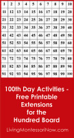 100th Day Activities - Free Printable Extensions for the Hundred Board