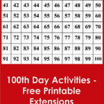 100th Day Activities – Free Printable Extensions for the Hundred Board