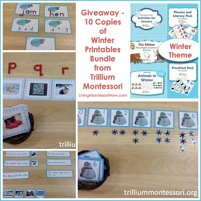 Giveaway - 10 Copies of Winter Printables Bundle from Trillium Montessori
