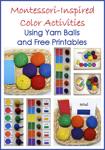 Montessori Monday – Montessori-Inspired Color Activities Using Yarn Balls and Free Printables